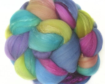 MERINO SILK handdyed wool roving top spinning or felting fiber 3.6 oz