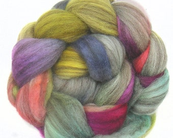 BFL handdyed wool roving top spinning or felting fiber 3.6 oz