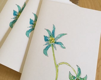 Floral Watercolor Blank Note Cards - Garden Tomatoes in Blue - Blue Flower Note Cards - Botanical Note Cards - Set of 6