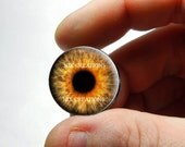 Glass Eyes - Fire Zombie Glass Eyes Handmade Glass Taxidermy Doll Eyes Cabochons  - Pair or Single - You Choose Size