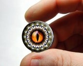 Glass Eyes - Orange Tribal II Dragon Eyeball Cabochon for Pendant Earring Ring Blanks - Pair or Single - You Choose Size