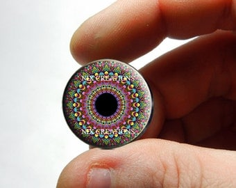 Glass Eyes - Kaleidoscope Eye Human Doll Taxidermy Eyes Handmade Glass Cabochons Design 2 - Pair or Single - You Choose Size