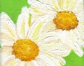 Shasta Daisies Painting on lime green Original on canvas with mini easel, original painting, acrylic painting