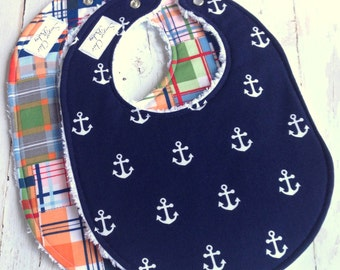 Baby Bibs for Baby Boy  -  Set of 2 Triple Layer Chenille Bibs - Navy Blue Anchors &  Nantucket Madras Plaid