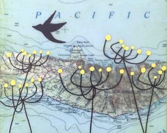 Molokai - Original Map Painting 5 x 5 - Bird and Flowers Art