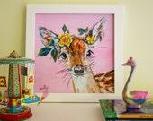 """Deer Art Print, Fawn art, Deer Nursery Art Print, Woodland Art, 12x12"""""""