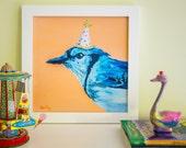 "Bird Art Print, Woodland Nursery Decor, Animal Nursery Art,12x12"""