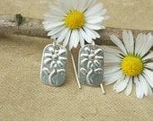 Little Daisy Flower Sterling Silver Earrings - Spring Dangle Earrings -Stamped Flower Earrings - Daisy Earrings - Small Daisy Jewelry, Women