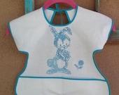 Vintage 1960s Bib Embroidered Bunny Smock Style Baby 2015219