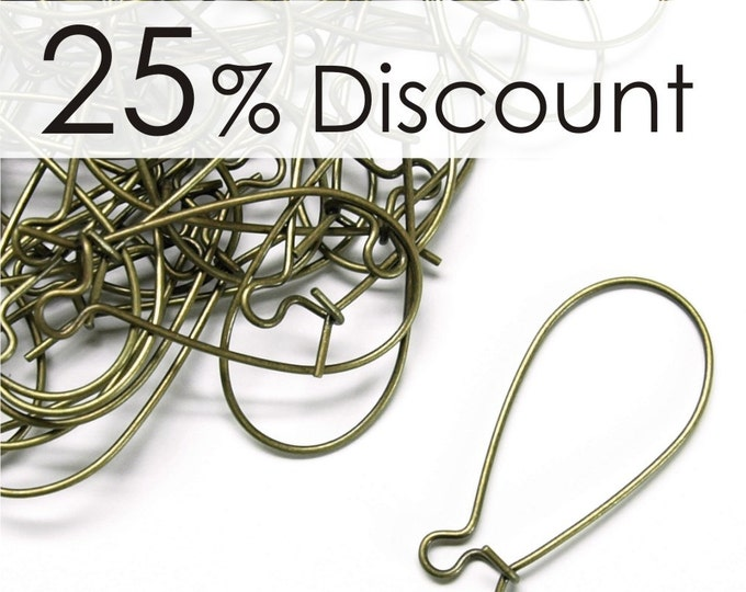 EWBAB-kd30 - Earwire, Kidney Medium, Antique Brass - 100 Pieces (10pk)