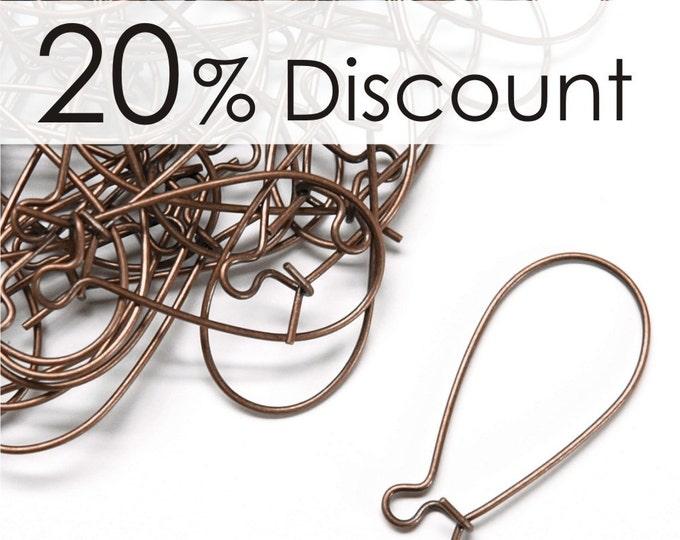 EWBAC-kd30 - Earwire, Kidney Medium, Antique Copper - 50 Pieces (5pk)