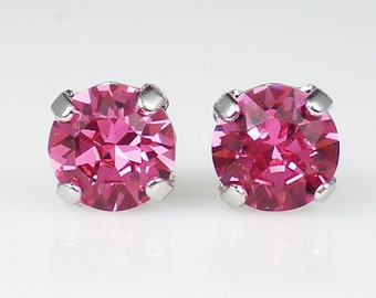 Pink Rhinestone Stud Earrings Swarovski Pink Wedding Jewelry Flower Girl Earrings Bridesmaid Earrings