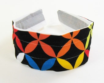 Reversible Fabric Hard Headband in Gray Stripes and Bright Pinwheel Design