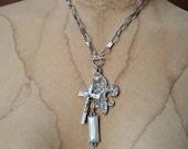 Rhinestone Fleur-de-lis, Cross, Key & Pearl Silver Assemblage Necklace