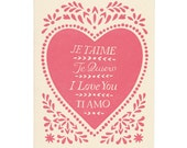 set of five valentine cards: JE T'AIME letterpress greeting cards