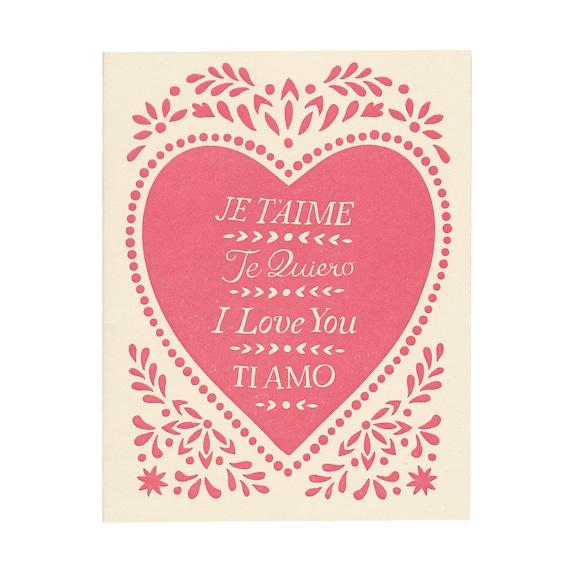 set of five valentine cards: JE T'AIME letterpress greeting cards