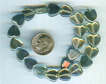10mm Sahara Green Mystic Glass Heart Beads 12pcs