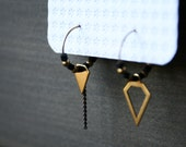 Dusk Earrings - small hoop modern minimal everyday black brass gold diamond black chain asymmetric geometric