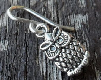 Removable Stitch Marker For Knitting Or Crochet Silver Tone Owl