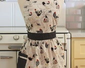 Retro Apron Chickens Roosters with Beige - CHLOE