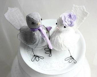 Love Birds cake topper - Bird wedding cake topper  - Lavender - Wedding Bird cake topper - Fabric birds - Customized Order