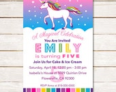 40% off Unicorn rainbow girls birthday party invitation Custom DIY Printable Magical Celebration