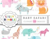 40% off Baby Safari Clipart lion, tiger, giraffe, whale, elephant, zebra Digital Download baby shower, invites, scrapbooking