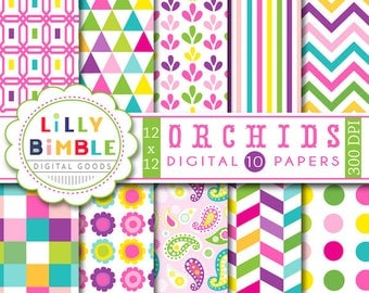 80% off Orchids digital scrapbooking paper with paisley, flowers, polka dots, stripes, chevron, colorful purple, pink, yellow, green