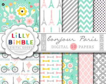 40% off Paris Digital Papers with Eiffel tower, travel, romantic, Modern Scrapbook Paper Instant Download