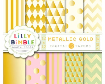 80% off Metallic Gold digital paper, golden, pink, green, shiny scrapbook paper Instant Download