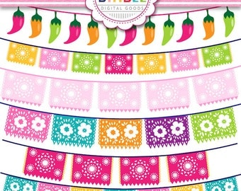 40% off Fiesta Bunting Clipart Picado for cards, invites, scrapbooking, Commercial Use included