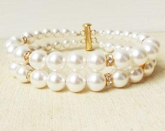 Classic GOLD Bridal Wedding Bracelet, Double Strand Pearl & Rhinestone Wedding Cuff, Pearl Bridal Bracelet, Wedding Bridal Jewelry, GRACE