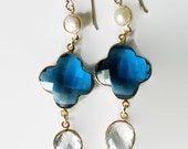 Quatrefoil, Lucky Clover earrings, Blue quartz earrings, Pearl earrings, dangle Gold filled.