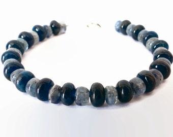 Apatite, Kyanite bracelet. Sterling silver clasp. Bead bracelet only. zen meditation bracelet