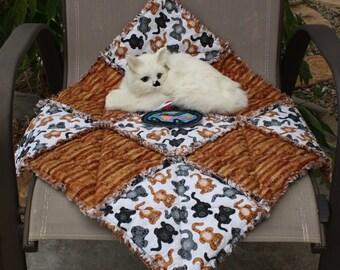 Cat Blanket, Cat Bed, Rust Cat Bed, Cat Quilt, Colorado Catnip Bed, Travel Cat Blanket, Crate Mat, Luxury Cat Blanket, Fabric Cat Bed