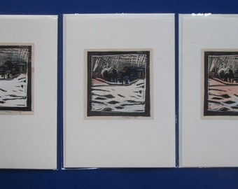 3 Original Hand Coloured Lino Cut Landscape Prints, Greeting Cards with Cello Sleeves