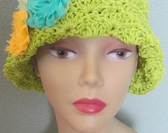 Cloche Hat Flowers Sun Rose Kiwi Green Aqua Yellow Fedora Knit All Natural Cotton