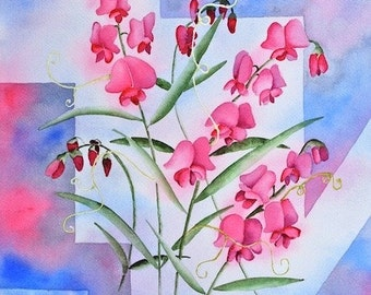 Pink wild sweet peas ORIGINAL 12x16  floral geometric blue garden Watercolor Painting by Melanie Pruitt EBSQ