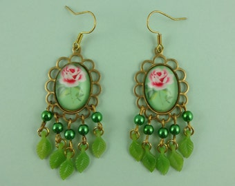 Green and Pink Rose Chandelier Earrings with Tiny Dangly Leaves - old fashioned, vintage style, granny cottage chic, dangly, retro, flowers
