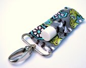 Chapstick Holder, Lip Balm Keychain, Grey with Turquoise and Lime Flowers