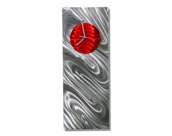 Silver & Red Modern Metal Wall Clock - Reflective Abstract Functional Art - Etched Handcrafted Modern Timepiece - Red Aura by Jon Allen