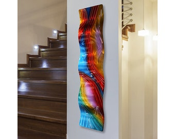 SALE! Multi Colored Abstract Metal Wall Art, Modern Wall Hanging, Rainbow Home Decor, Contemporary Accent Art - Accumbent Wave by Jon Allen