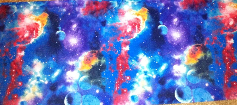 Galaxy nebula poly lycra spandex knit fabric by for Galaxy nebula fabric