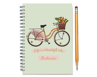 12 month 2016 Planner, custom gift, Customizable daily agenda planner, weekly 2016 calendar, life is a beautiful ride,SKU: pl pink bike