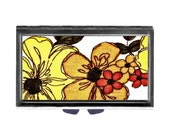 Big Bold Flowers Pill Case with Mirror pill box 3 or 7 day sections  Orange Yellow retro Wife Gift
