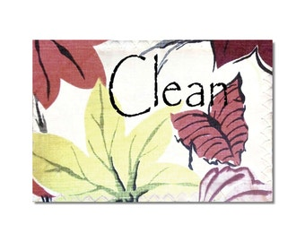 Clean Dirty Magnet Flip Sign Vintage BarkCloth designs dishwasher magnet 50s 60s retro decor