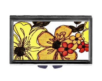 Big Bold Flowers Pill Case with Mirror pill box 3 day sections  Orange Yellow retro Wife Gift