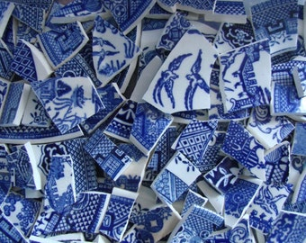 Vintage Blue Willow Transferware Vintage China Filler Mosaic Tile Pieces Art Tile Supply