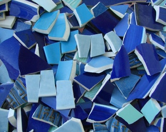 Blue 200 Solid Mix of Colors Fillers  Mosaic Tiles Broken Plate Pieces Art Tesserae 200