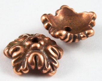 10mm Antique Copper Tierracast Oak Leaf Bead Cap #CKC159